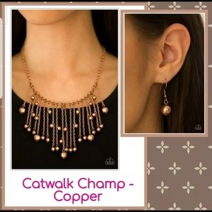 Catwalk Champ Copper Necklace & Earrings Set